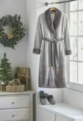 NEW Alcove Unisex Robe and Slipper Set Size: L/XL, Color: Gray