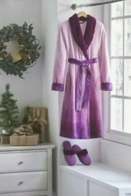 Alcove Unisex Robe and Slipper Set Size: L/XL, Color:Plum !Valentine's Day gift!