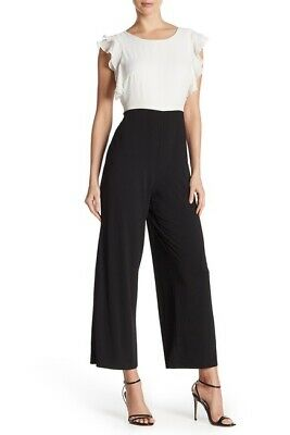 Sharagano NEW Womens Size 14 White Black Ruffle Trim Jumpsuit Work Formal $80