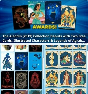 Topps Disney Collect  Aladdin Illustrated Characters Legends Agrabah 33 Cards +
