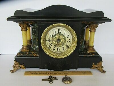 Beautiful Antique 19th Century Seth Thomas *4 Column Mantle Clock w/ Key (Works)