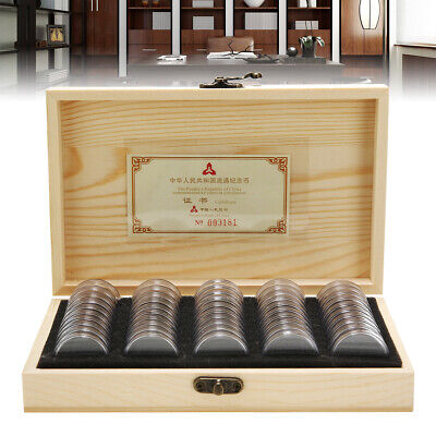 50 Capsules Wooden Coins Display Storage Box Case Holder Collector Favorite AU
