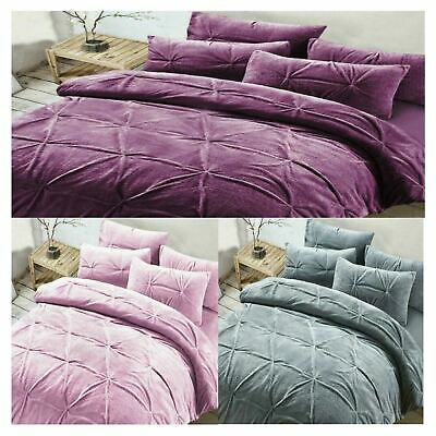 Madison Pinch Pleated Fleece Bedding Set Luxury Warm Duvet Cover Pillow Case Set