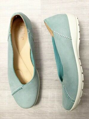 Hotter Ladies Comfort Concept Flat Shoes Natural Slim Size 6.5 Blue Casual