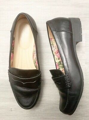 Hotter Comfort Ladies Black Size 6.5 Loafers Leather Sorbet Casual Blogger