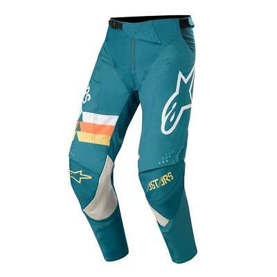 Alpinestars Cross Hose Techstar Venom - Petrol/Weiß/Orange Fluo
