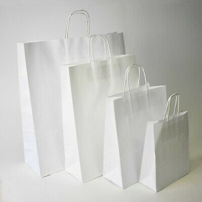 Strong White Twisted Handle Paper Bags Plain Carrier Twist Gift Fashion Party