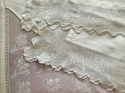 Antique Linen Bedspread & Pair Pillow Shams, Crochet Filet Lace, Daffodils