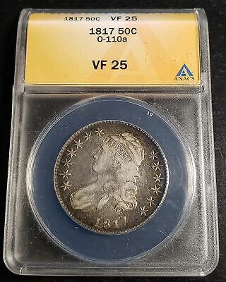 1817 Lettered Edge Capped Bust Half Dollar ANACS VF25 O-110a