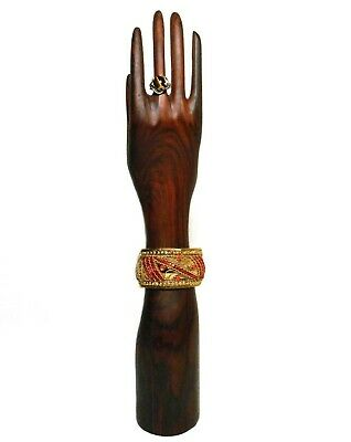 Mid-20Th C Vint Rosewood Hand Carved Right Hand Ring/Jewelry Display Stand