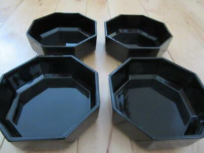 Four Shiny Black Octagonal Cereal Soup Bowls  Arcoroc France Unused Beautiful