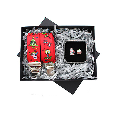 Christmas Red Braces and Christmas Pudding Cufflink Gift Set 2 Piece