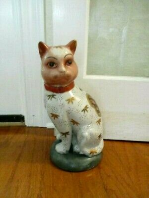 """Vintage Chinese Lucky Cat Hand Painted Porcelain Figurine Statue Doorstop 13"""""""
