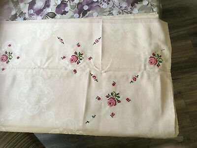 Already Started Zweigart Damask Obensburg Embroidered Tablecloth ,Threads Etc