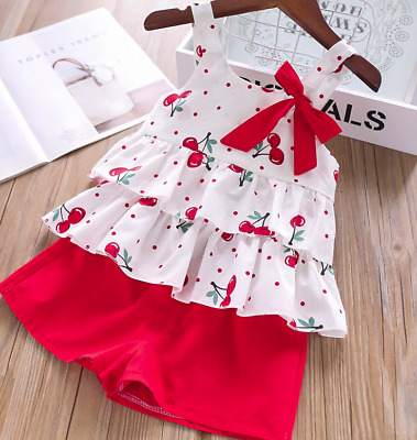 Girls Kids Set Summer Baby Outfits Tops Clothes Top Shorts Toddler Age 2-8 years