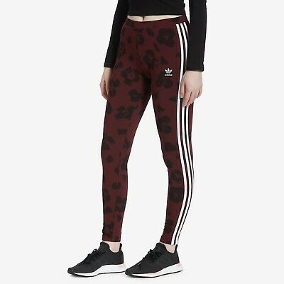 Adidas Originals Women's ALLOVER PRINT TIGHTS Maroon / Black EC1908 d