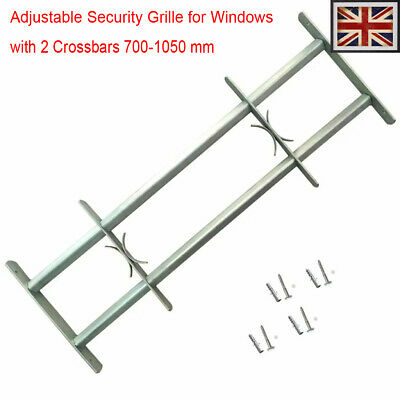 Adjustable Security Grille for Windows with 2 Crossbars 700-1050mm Safe Steel