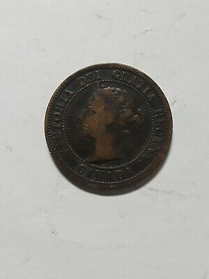 1892 Canadian One Cent Copper Coin Circulated