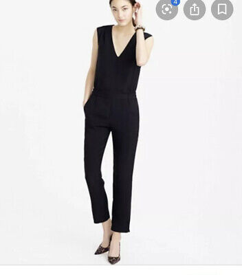J. Crew Womens Size S Navy Blue Relaxed Jumpsuit in Tencel Linen V Neck 87L