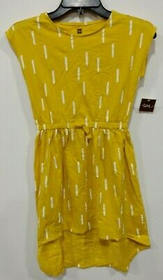 Tea Collection Girls Size 7 Yellow with Vertical Dash Hi Low Dress - NWT