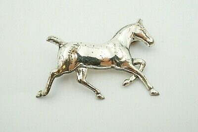 Large Vintage Sterling Silver Dimensional Lucky Horseshoe Horse Brooch