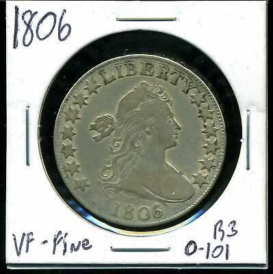 1806 50C Draped Bust Half Dollar in Fine-VF Condition R3 O-101