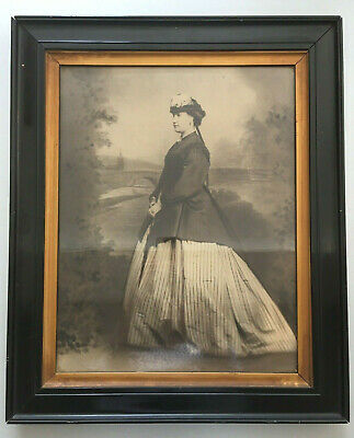 Large Antique Framed Victorian Photograph Lady Dress Picture Print Black & White