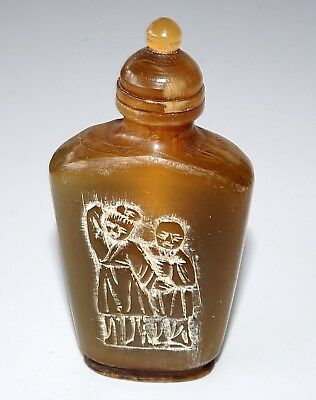 20C Chinese Bovine Horn Carved Snuff Bottle w. Figures & Character Motif (Wil)