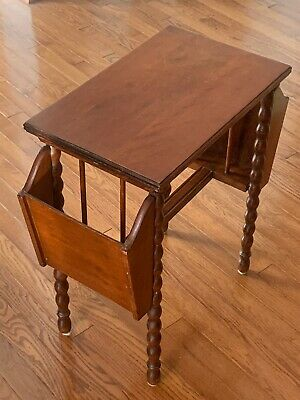 Antique VTG American Solid Wood Side Table Book/magazine Rack & Bobbin Legs