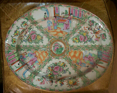 """LARGE Antique Early 19th C Chinese Rose Medallion Well & Tree platter 19""""  Mint"""