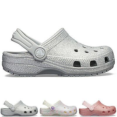 Kids Girls Crocs Crocband Glitter Clog Water Resistant Holiday Shoes All Sizes
