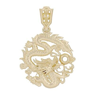 14k Yellow Gold Detailed Traditional Chinese Dragon Pendant Semi-Mount 1.25""