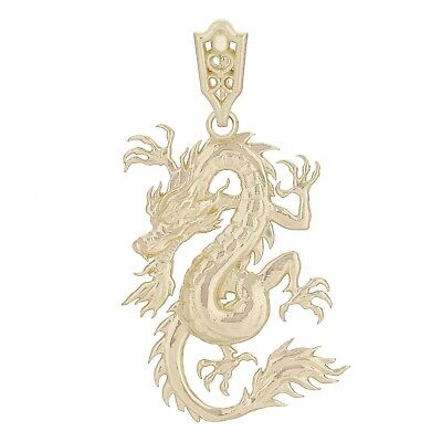 14k Yellow Gold Bright Polish Lucky Asian Chinese Curling Dragon Pendant