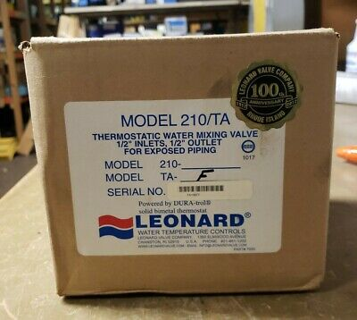 """Leonard 210 TA-F Thermostatic Water Mixing Valve 1/2"""" Connections 1J-2870-D4"""