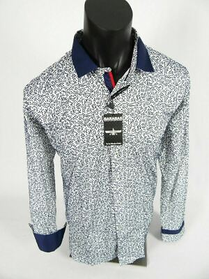 Mens Barabas Classic Fit Shirt White with Blue Velvet Florals Button Front