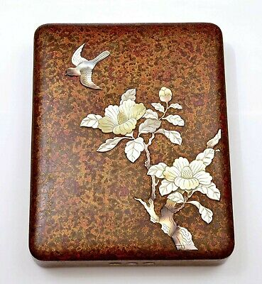 1930's Japanese Mother Pearl Inlay Wakasa Lacquer Tray Writing Box Suzuri Bako