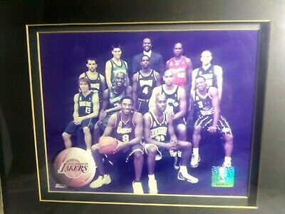 Kobe Bryant & Other NBA Players Framed Photograph & Lakers Pin back Button Rare