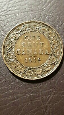 Canada 1 Cent 1919 George V Large Cent Copper Penny Coin