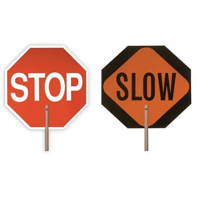 18 in.Handheld Stop Slow Paddle Sign Traffic Crossing Guard Construction Board