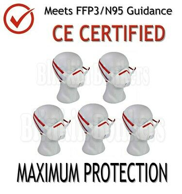 5 X Ffp3 Face Safety Mask Dust Respirator Valved Protective Disposable Breathing