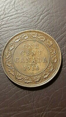 Canada 1 Cent 1916 George V Large Cent Copper Penny Coin