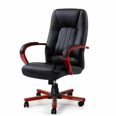 Red and Black Semper Executive Wooden Office and Computer Chairs Leather Seat