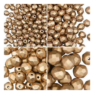 Set of Round Fire Polished Beads (3mm, 4mm, 6mm, 8mm), Aztec Gold (1CFP008)