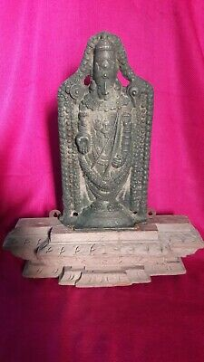 Antique Brass/Bronze Lord Venkateswara Hindu Temple Figurine Idol Sculpture  B14