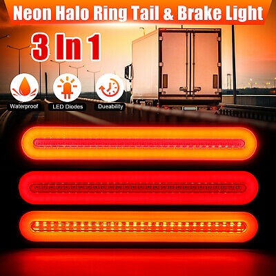 2X 28LED Flowing Reverse Stop Brake Turn Signal Rear Tail Light Truck Trailer