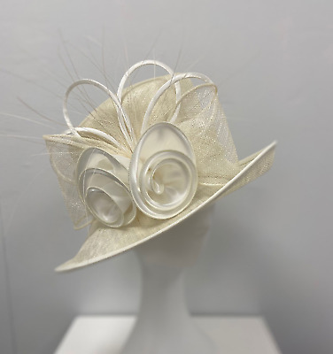 New Ladies Outdoor Event Occasion Wedding Formal Fascinator Ivory Lexi Hat