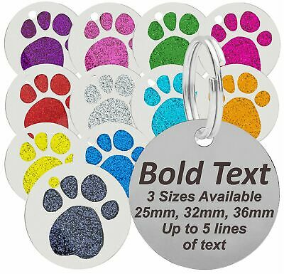 Personalised Engraved Dog Cat Pet Tag, 25mm, 32mm & 36mm Glitter Paw Dog ID Tags