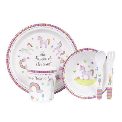 NEW Ashdene Unicorn Magic Kids Dinner Set 5pce