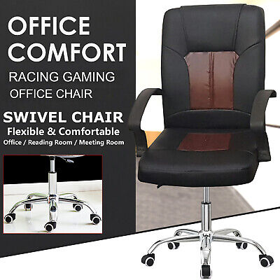 Executive Gaming Computer Office Chair Adjustable Swivel Comfy Chrome Legs Chair