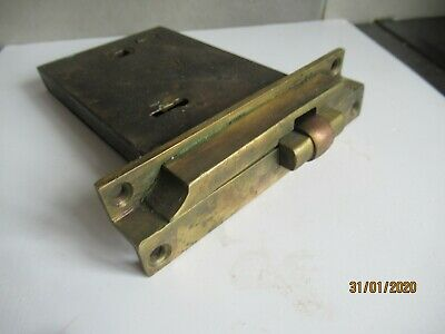 Superb Antique Steel And Brass Mortice Lock.